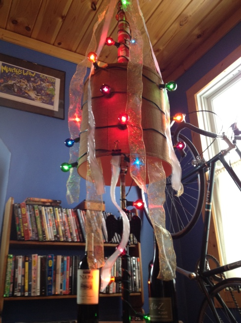 Cortney and I had our Christmas when I got home. He built the most awesome tree out of a lamp and poster tube.