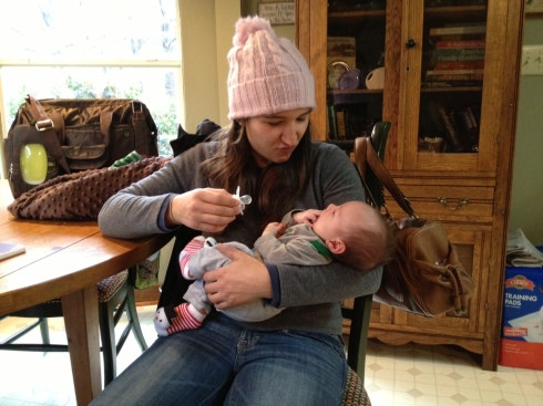 Met my four-week-old nephew, Ben! He did not like my hat.